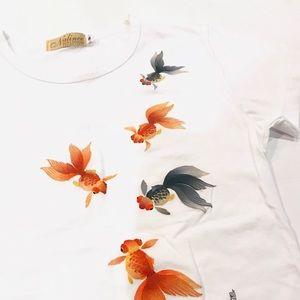 Tops - 🍃Nalinee Goldfish Batik Painting T-Shirt Small 🍃